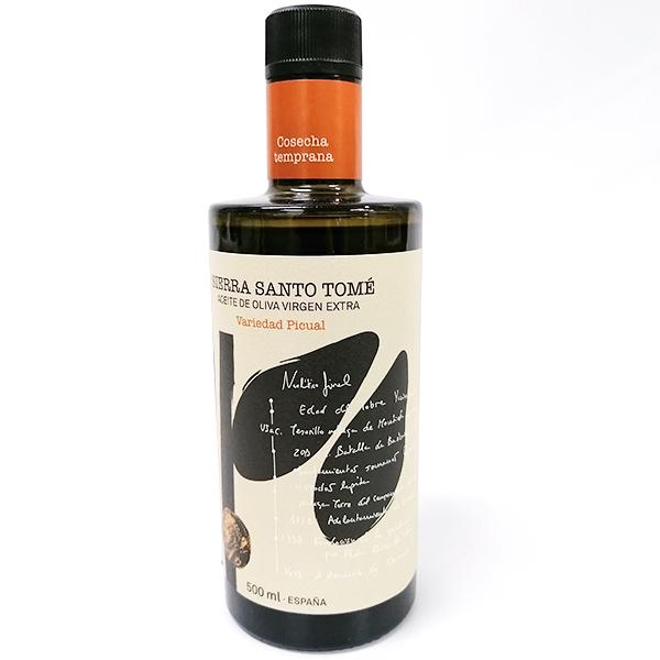 aceite premium 500 ml sierra de santo tome picual frontal