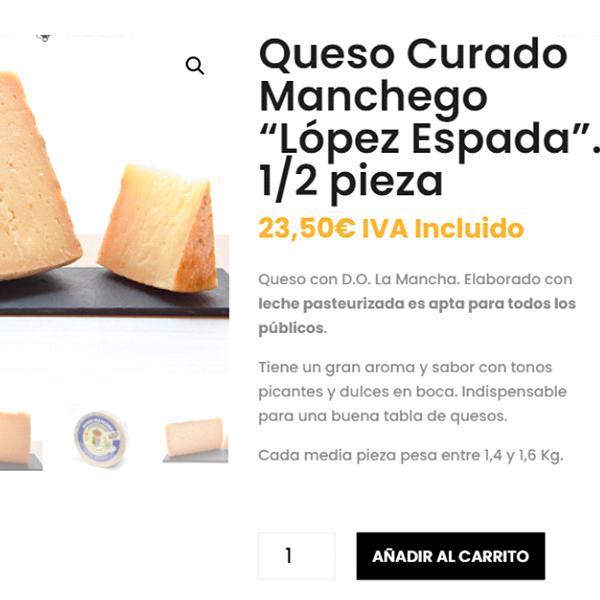 detalle de descripción de los quesos en tienda online. comer queso embarazadas